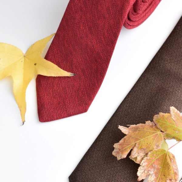 Red and Brown neckties with leaves