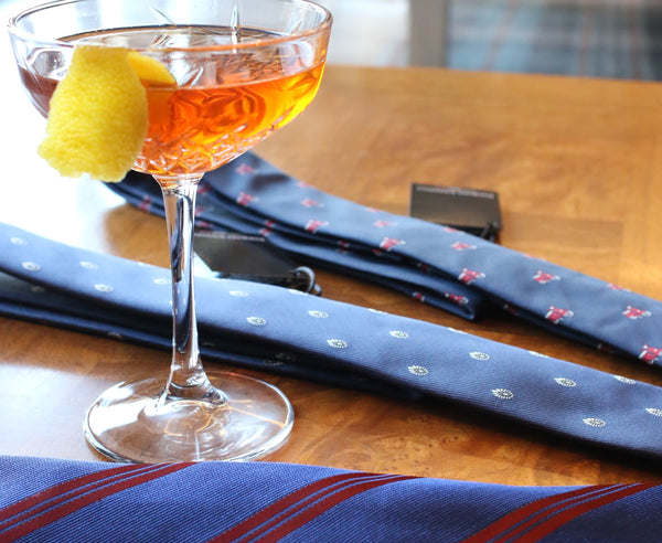 handmade ties with a cocktail