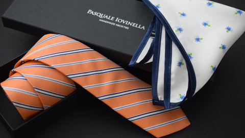 Orange striped tie and pocket square with gift box