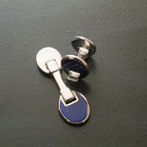 oval silver cufflinks with lapis center