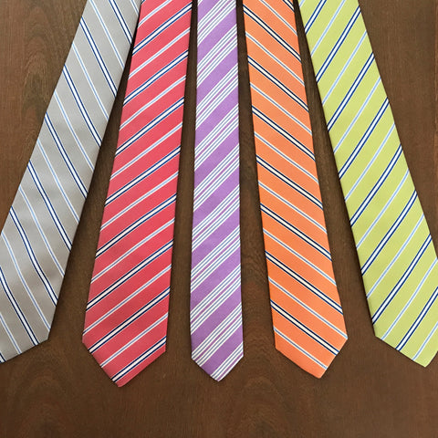 various striped handmade neckties