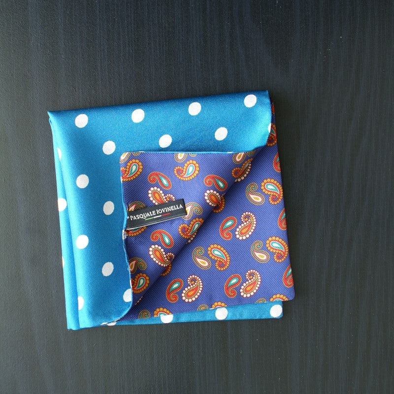 Blue white polka dots with paisley double sided pocket square