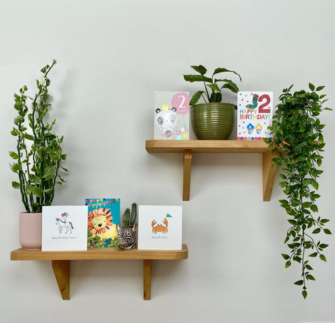 Cards on a shelf with plants