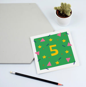 fifth birthday card unisex