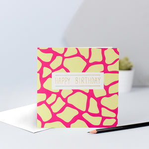 yellow and pink giraffe print birthday card