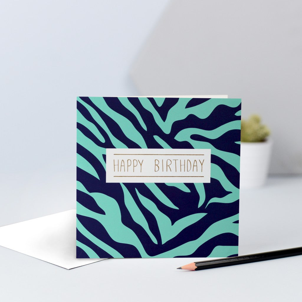 A green & navy zebra print birthday card