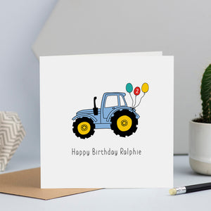 Blue Tractor Birthday Card