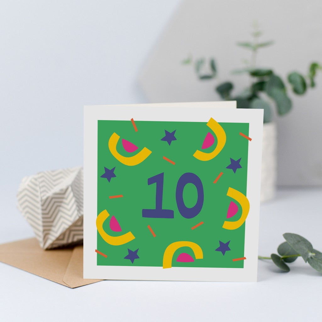 Tenth Birthday Card, birthday card for 10 year old girl or boy, unisex.