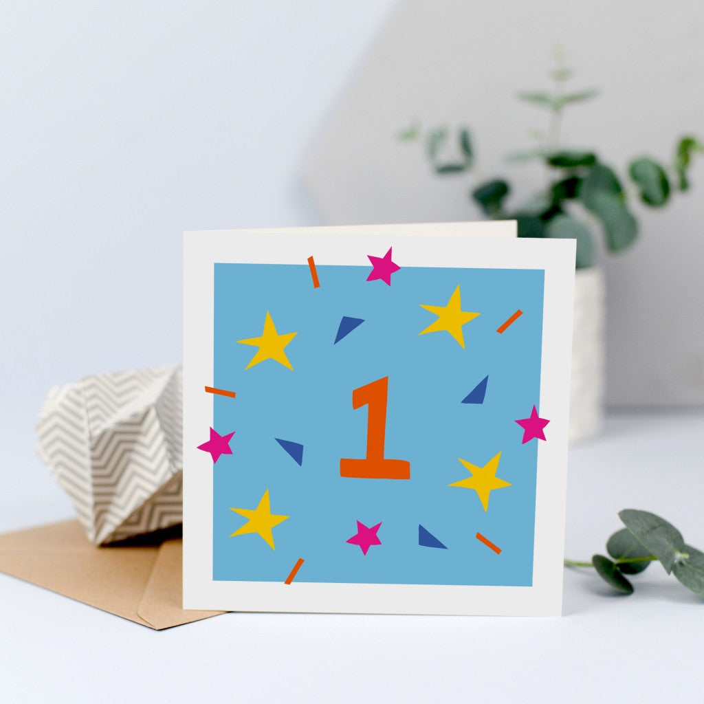 A colourful unisex first birthday card
