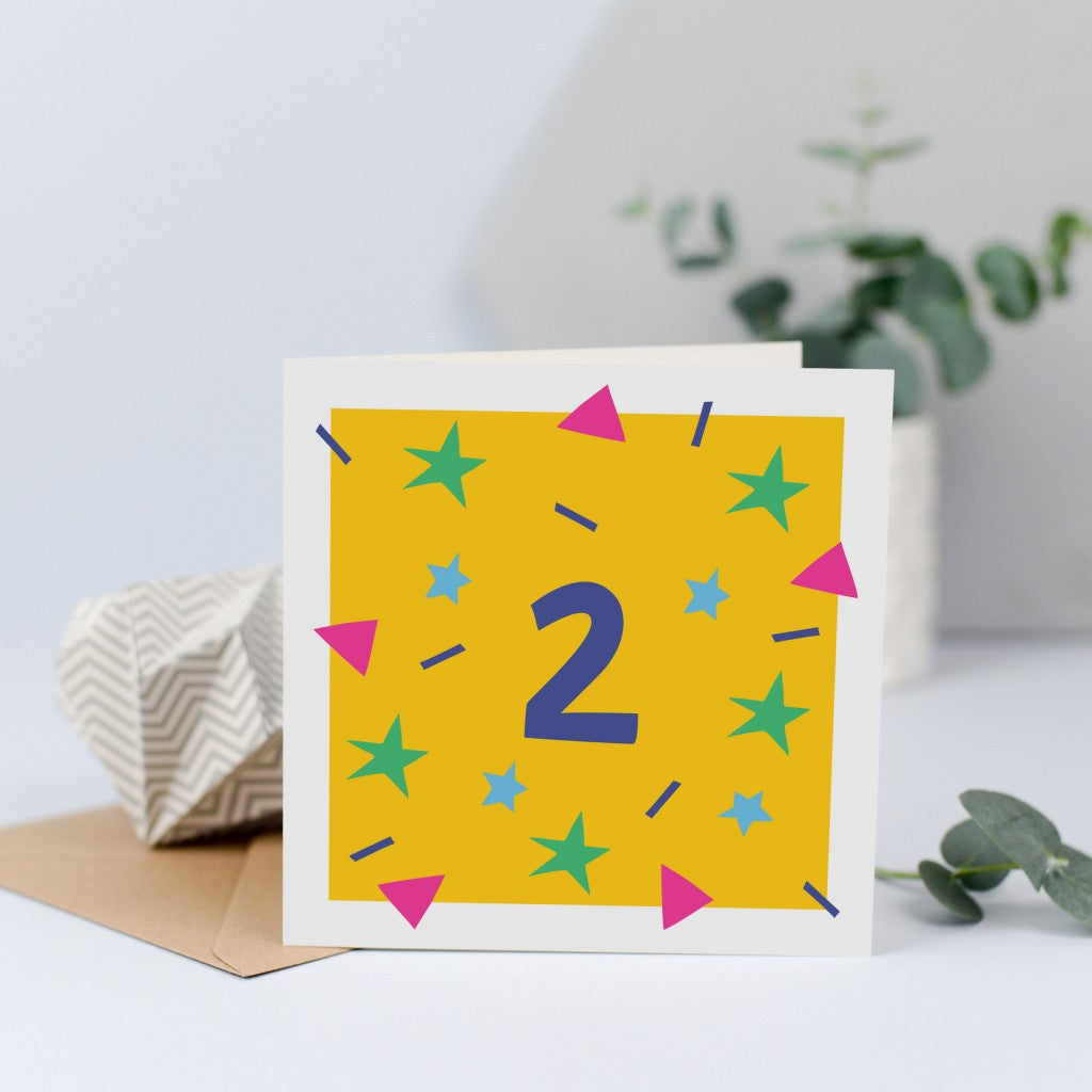 A unisex birthday card for a 2 year old