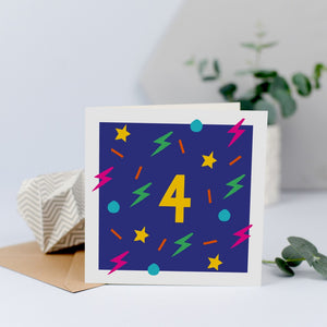 A colourful 4th birthday card