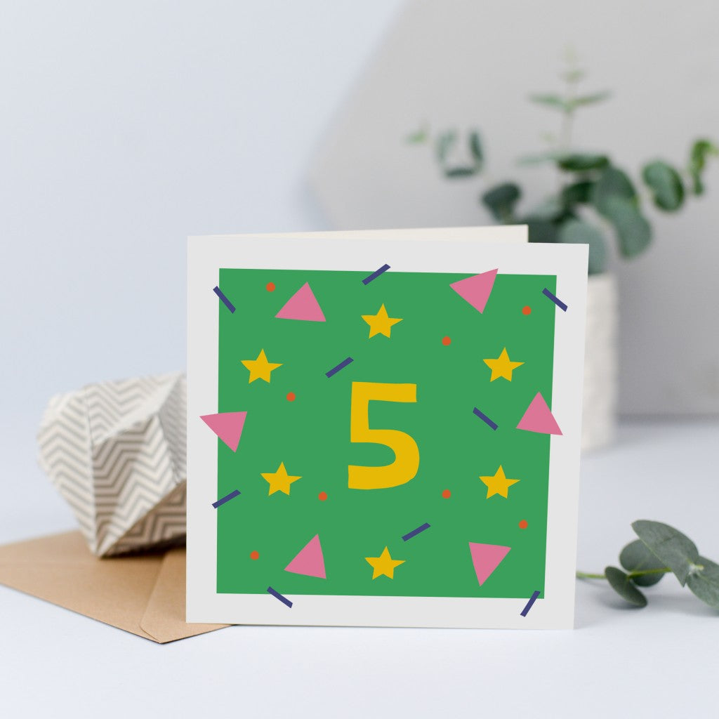 A colourful unisex birthday card for a 5 year old