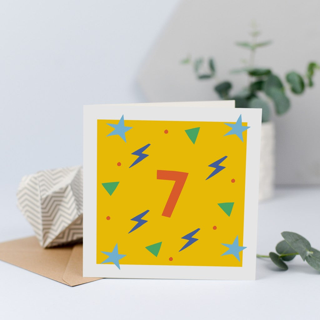 7th birthday card for a girl or boy, unisex.