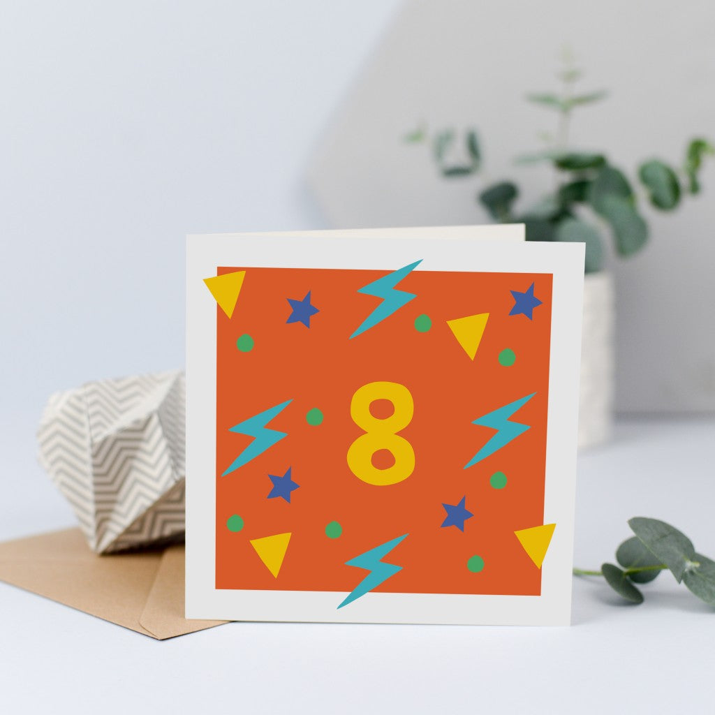 A bright and colourful unisex 8th birthday card.