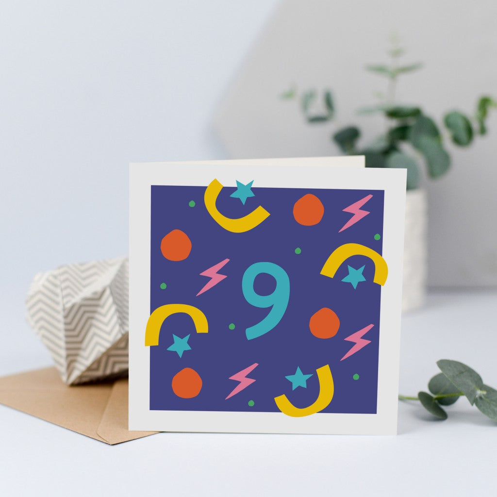 A unisex 9th birthday card with bright colours and shapes