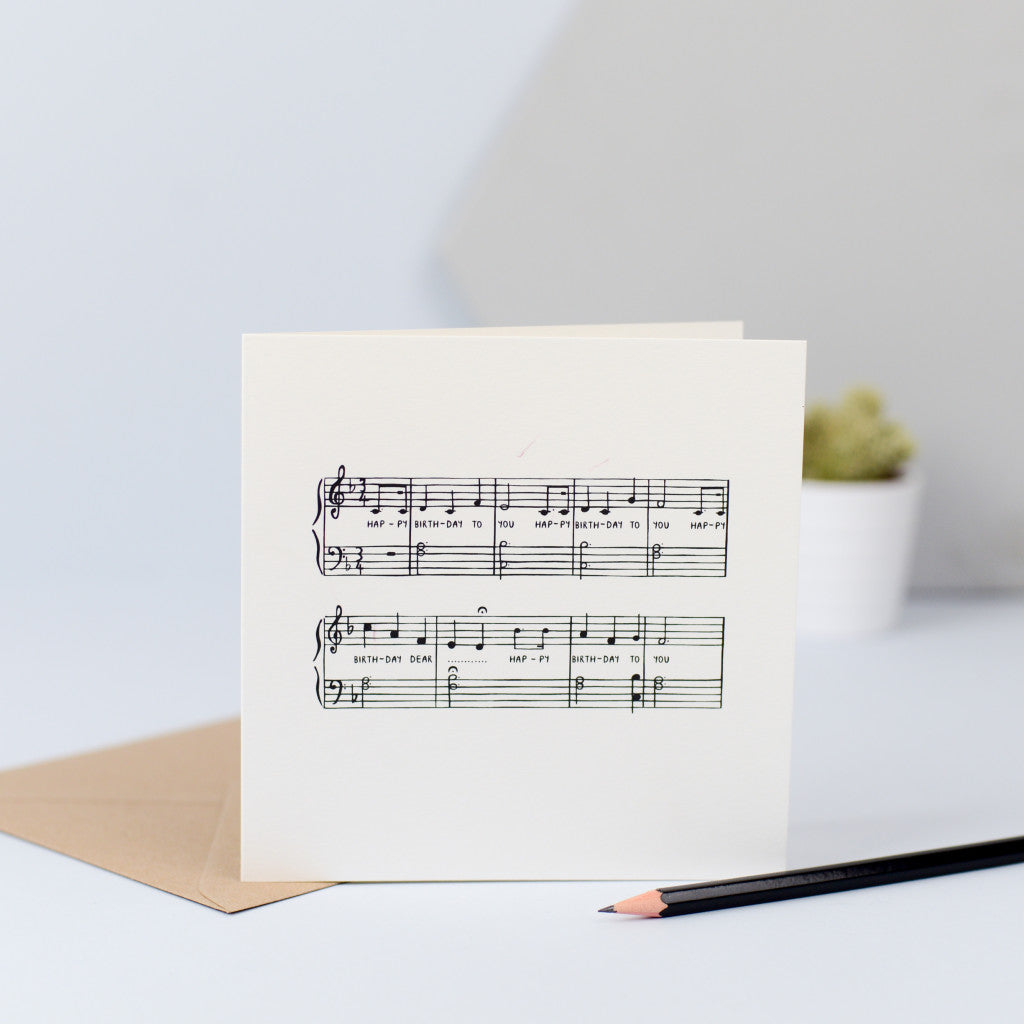 A birthday card featuring the musical notes for the song Happy Birthday.