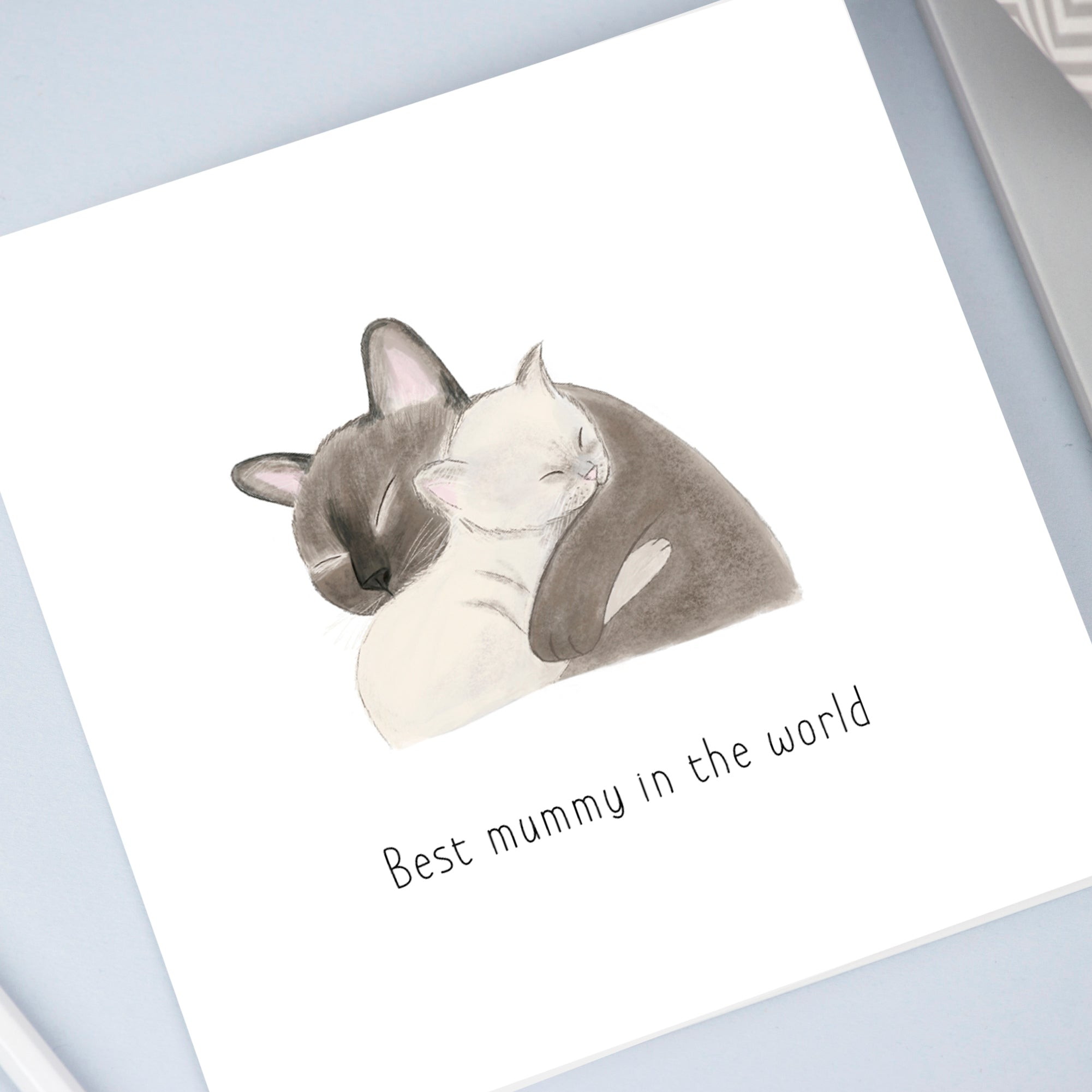 Cats hugging card for mummy