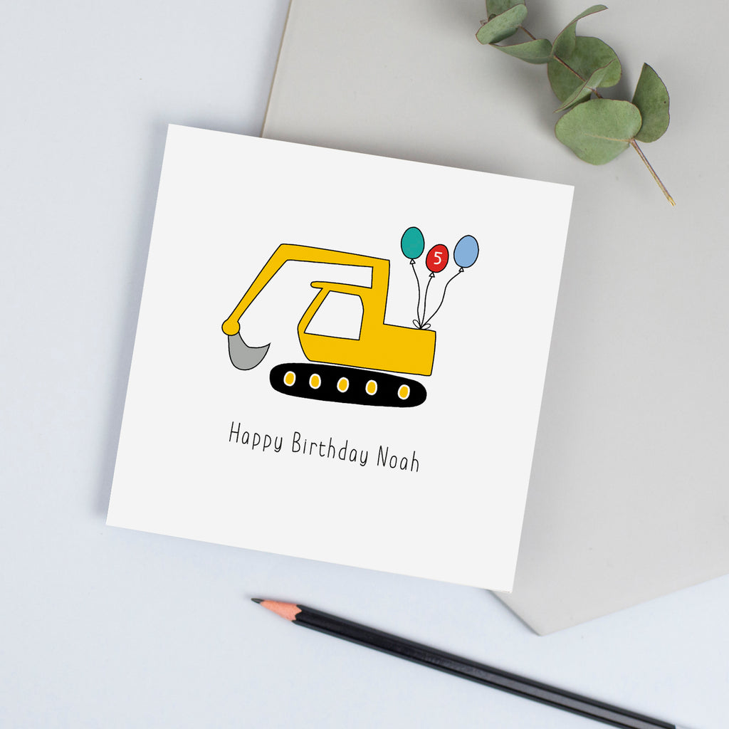 Digger birthday card for grandson