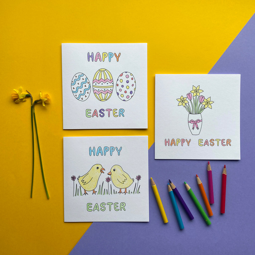 Easter colour in cards - coloured in