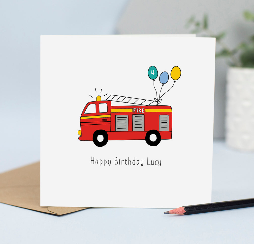 Fire engine birthday card