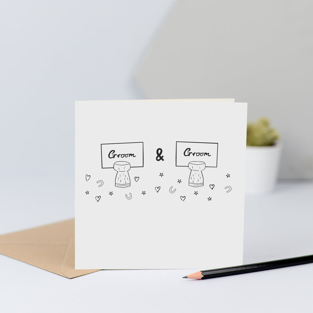 "A same sex wedding card with two ""Groom"" name places."