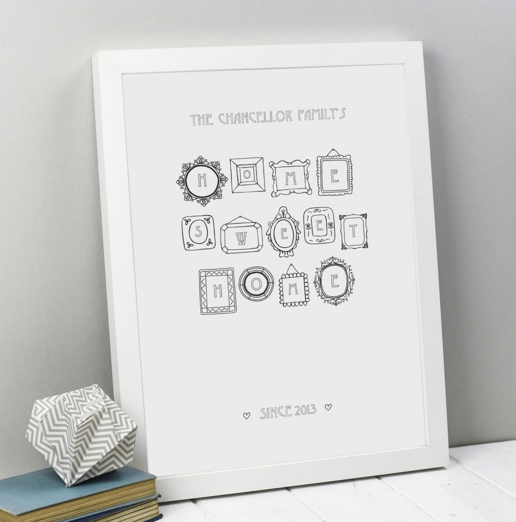 Home Sweet Home personalised family print (Unframed)