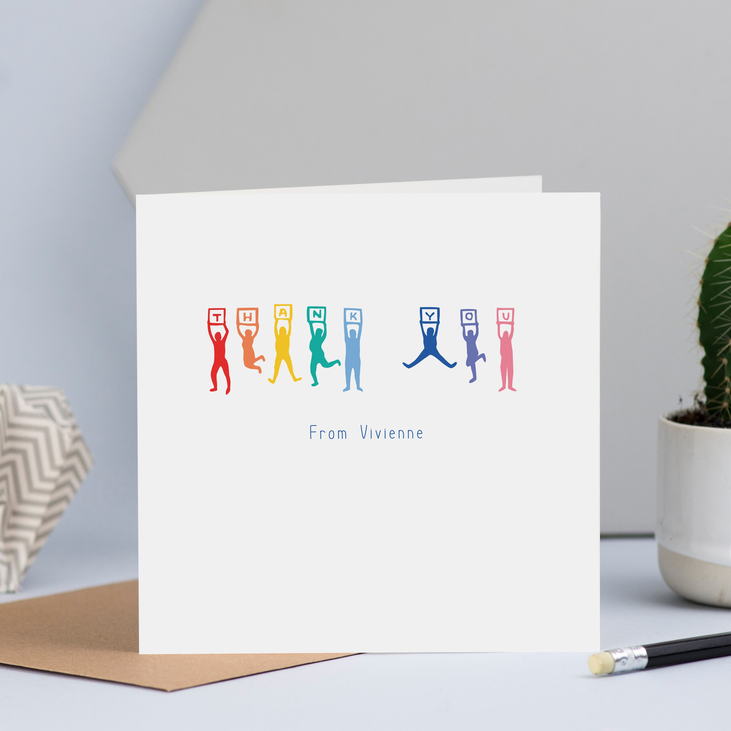 "Gorgeous personalised thank you cards with a line of people jumping up and down holding signs to spell out the word ""thank you""."