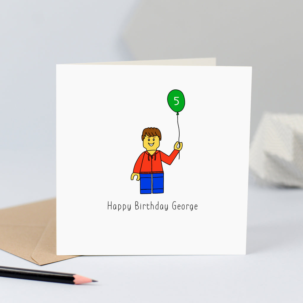 Lego birthday card for boy