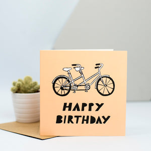 A tandem bicycle card for a cycling enthusiasts birthday.