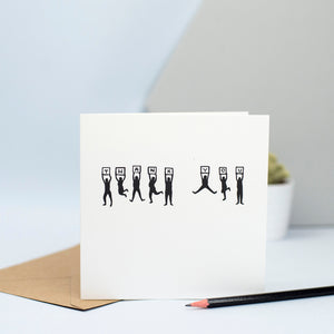 "A thank you card with people jumping up and down holding plaques to spell out the words ""Thank You"""