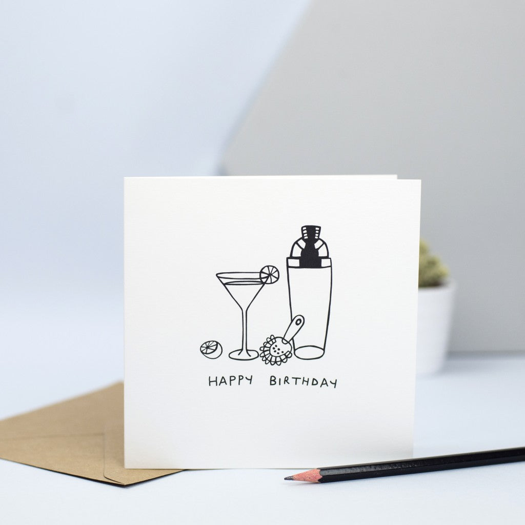 birthday card with an illustration of a cocktail shaker and a cocktail