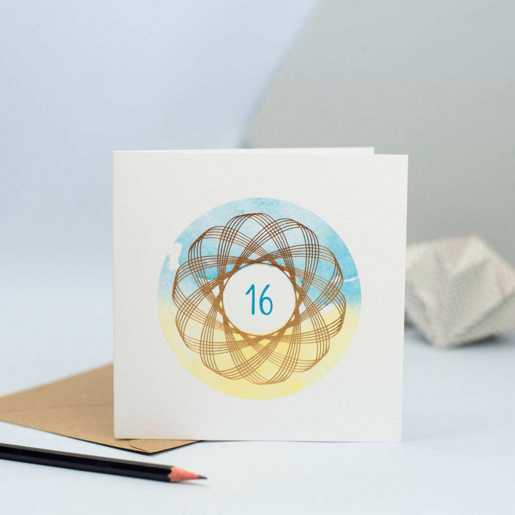 foiled spirograph design for a 16th birthday