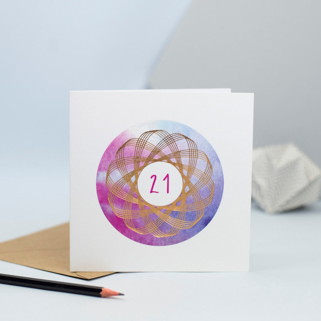 21st birthday card with watercolour and gold foil