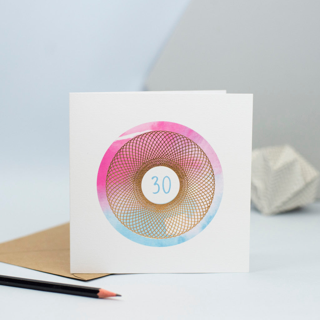 30th birthday card with blue and pink watercolour and foiled spirograph