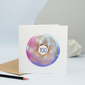 100th birthday card with a gold spirograph on a watercolour background