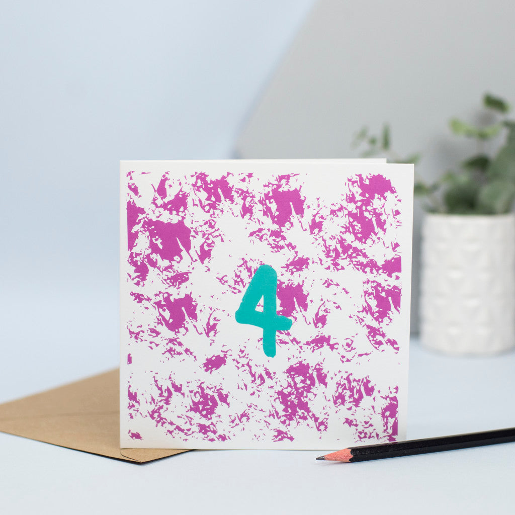 A delightful 4th birthday card with a textured pink pattern in the background and a green number 4 in the foreground.