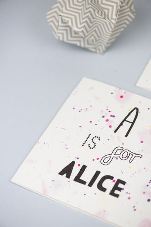 New Baby card with initial and name