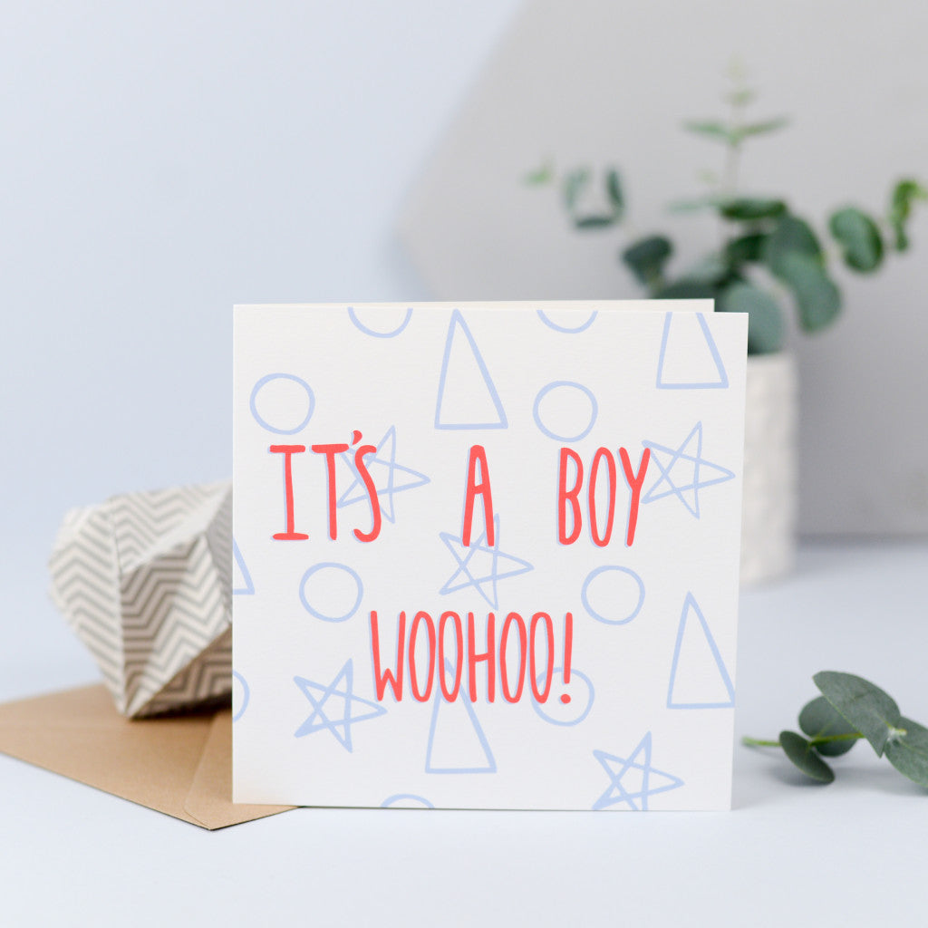 It's a boy card with shapes in the background