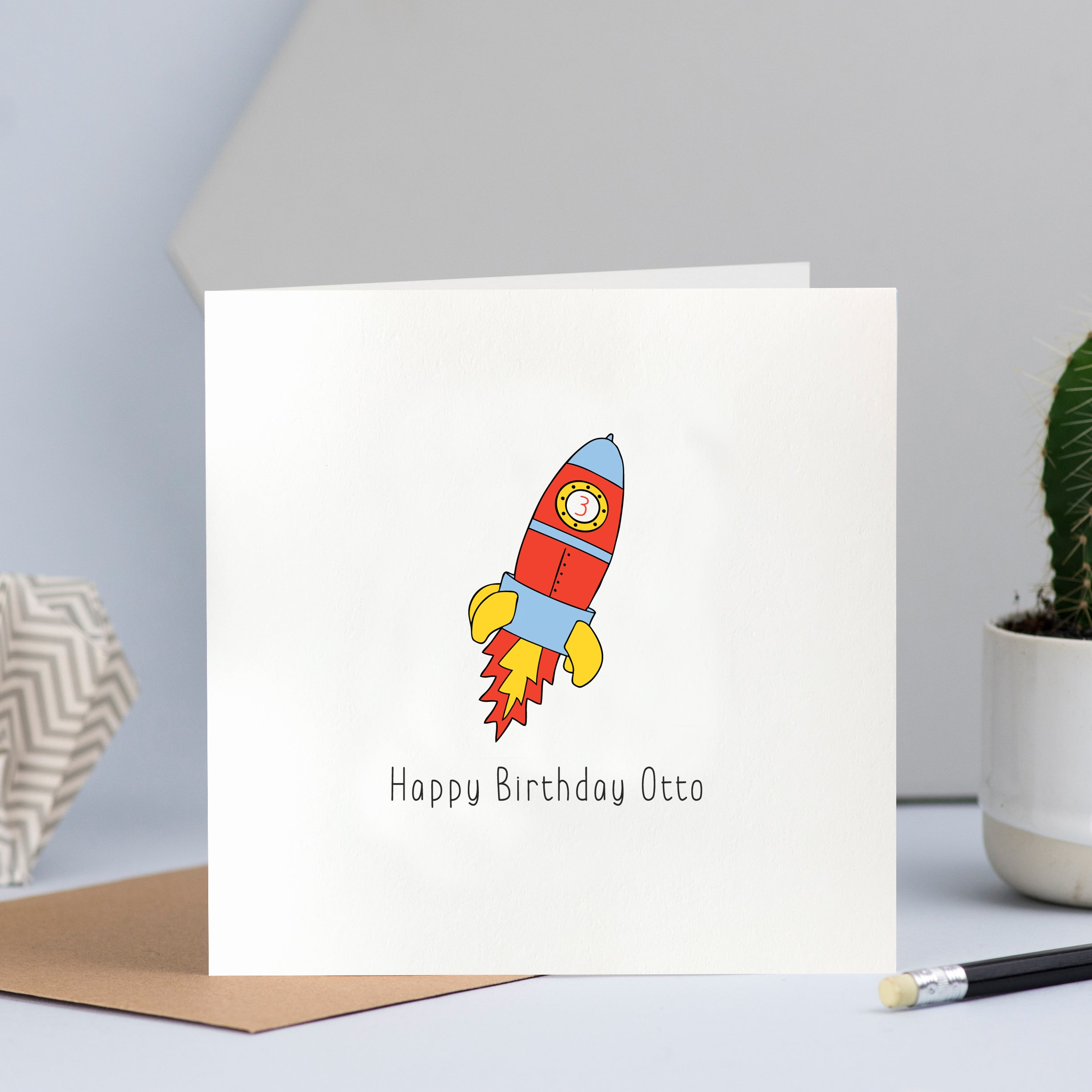 personalised rocket and space birthday card