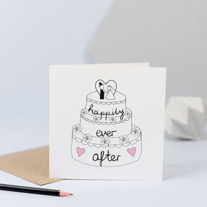 A wedding cake design with the words happily ever after.