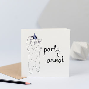 illustration of a dancing bear with a party hat on.