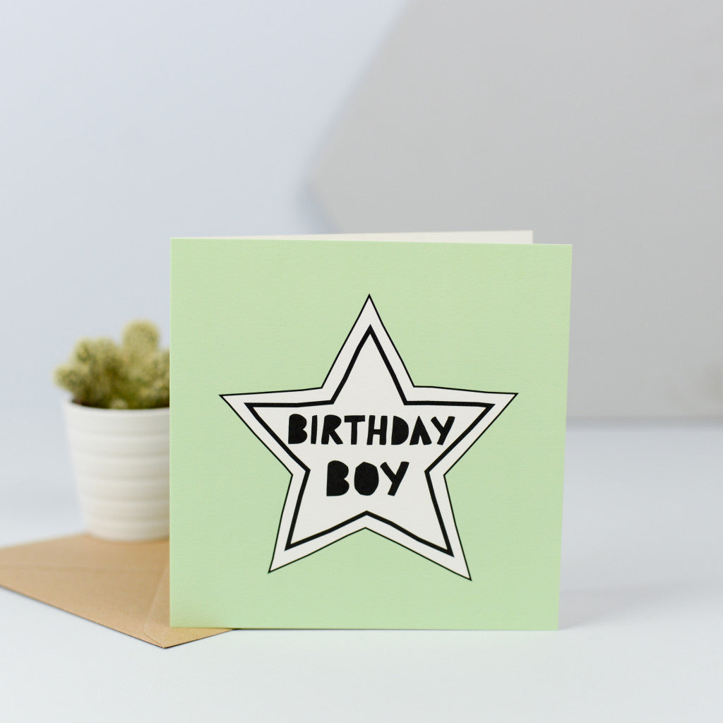 "A cute simple card, perfect for the birthday boy with a simple white star on a green background and the words ""Birthday boy"" in the centre of the star."
