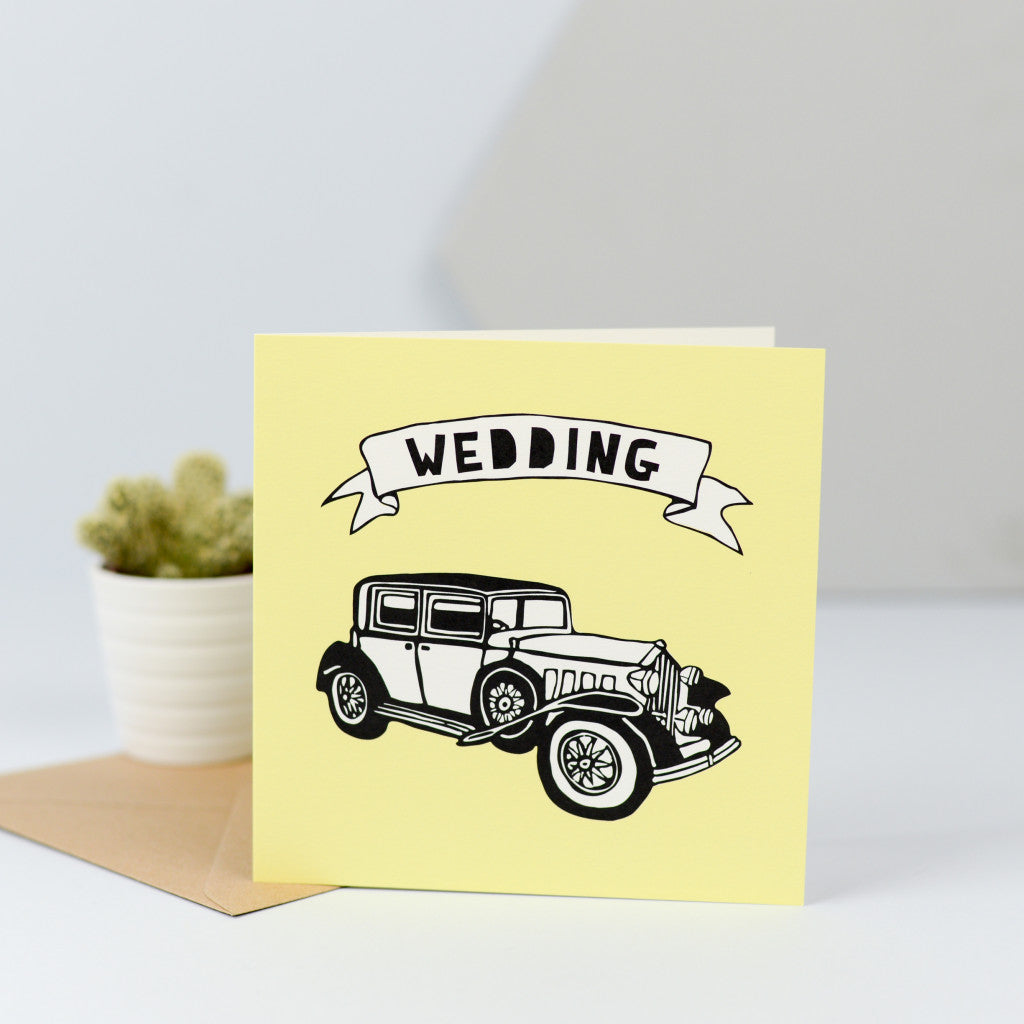 A vintage wedding car illustration