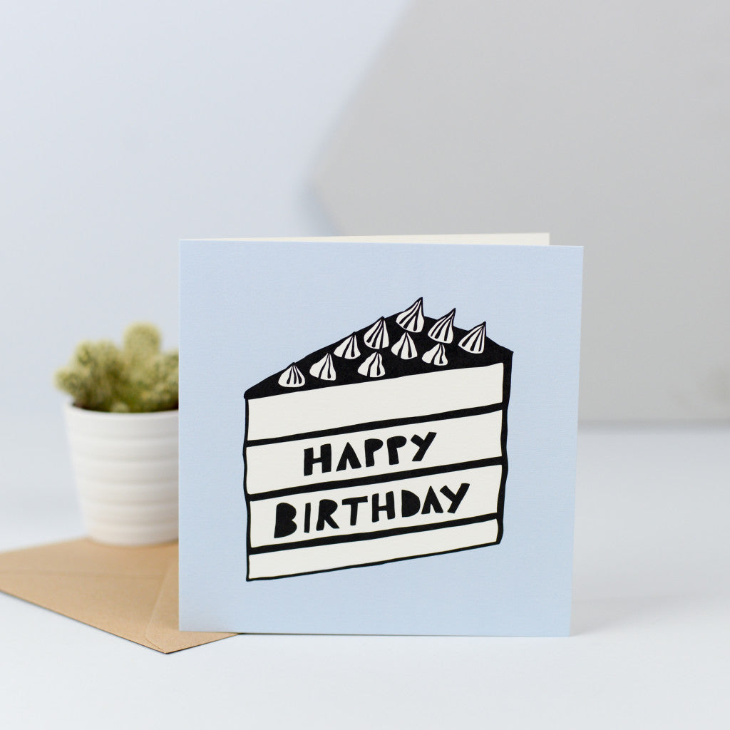 An illustration of a nice big slice of birthday cake on a baby blue background, perfect for the birthday girl or boy.