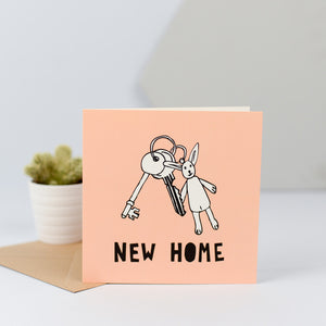 A new home card with a hand drawn illustration of a set of keys.