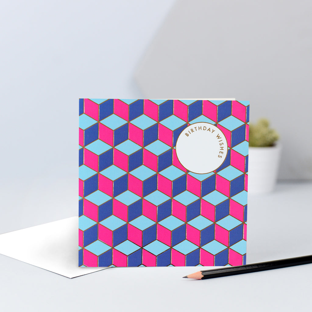 A pink and blue tessellating birthday wishes card