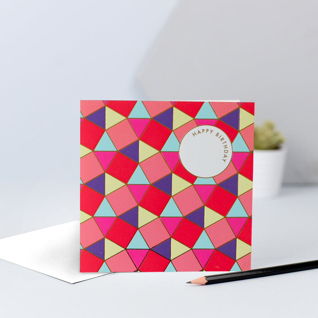 A tessellating birthday card with gorgeous bright colours and gold foil.