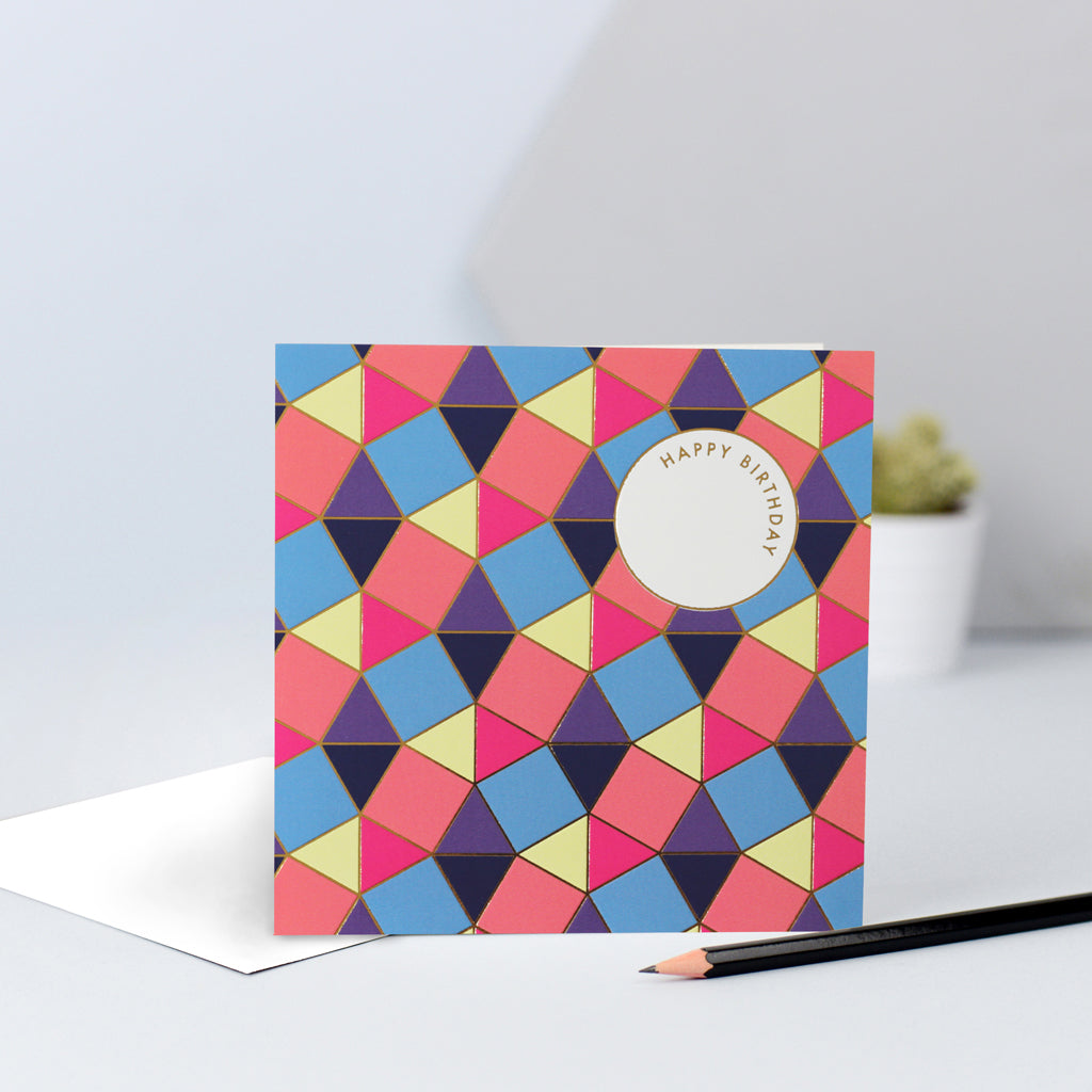 A bright and colourful tessellating pattern birthday card with gold foil.