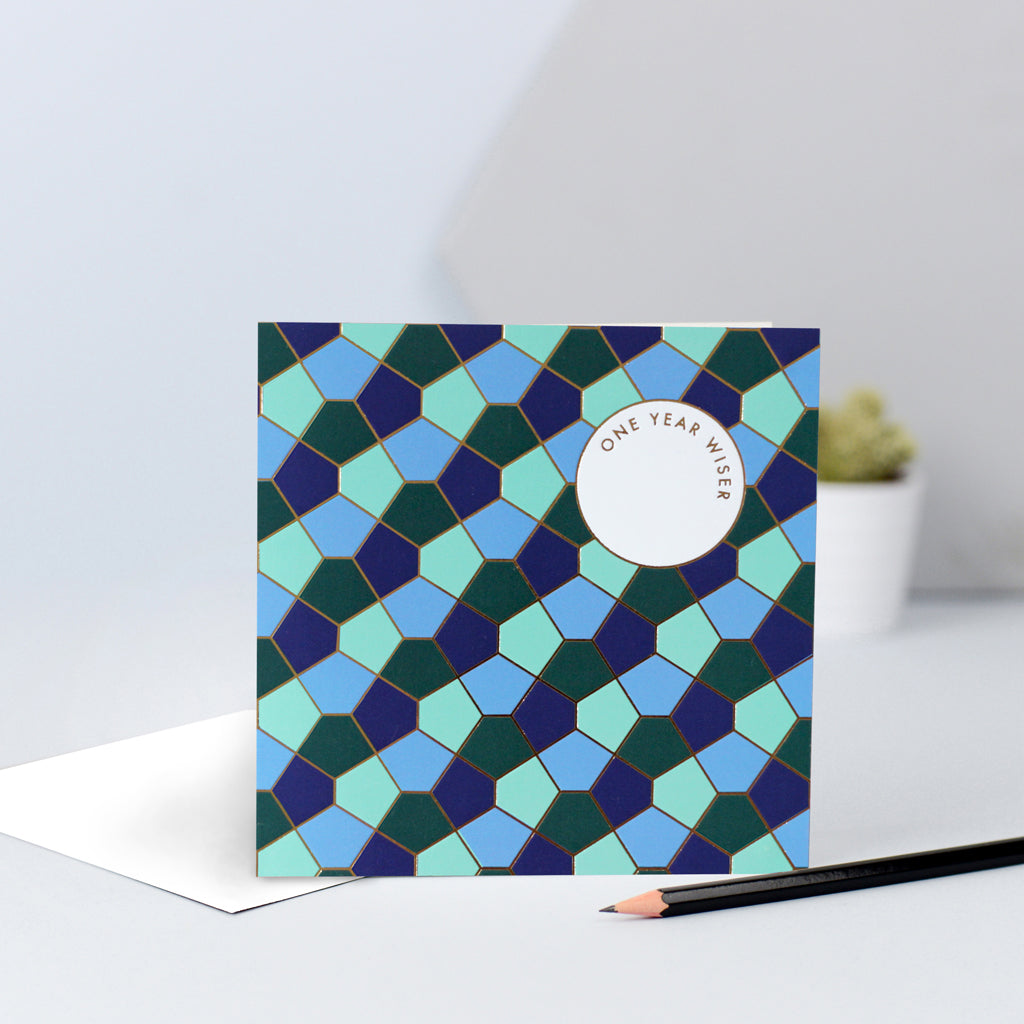 A sophisticated tessellating birthday card in blue and green.