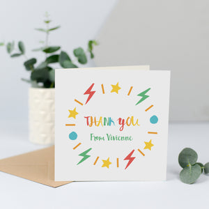 Personalised thank you cards - Rainbow shapes